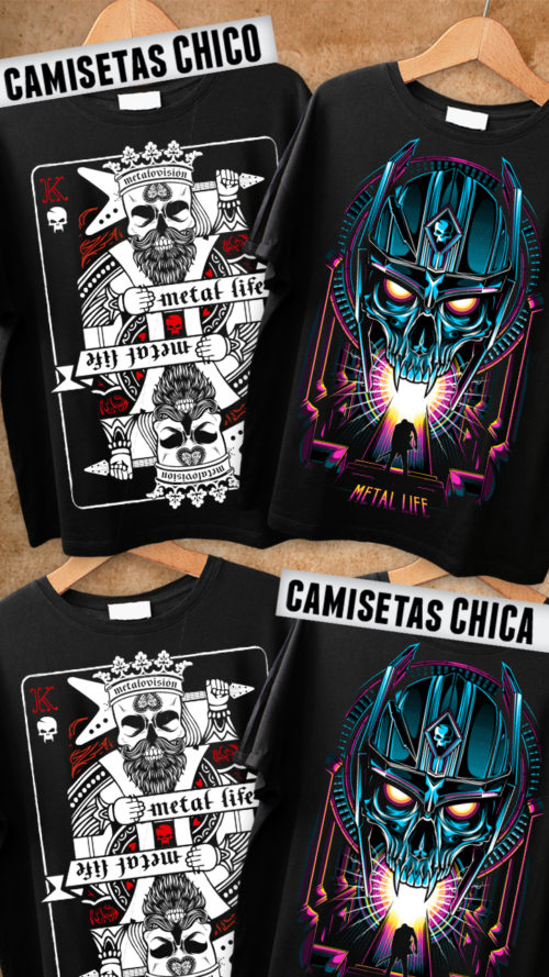 metalovision - Camiseta Poker Card y 80's Skull - Metal Life